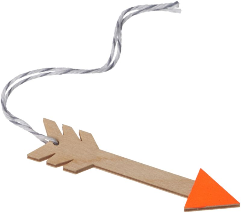 "<span class=""copyHeader"">hit the mark.</span> Made in the USA of handpainted balsa wood, orange-tipped arrow ties a folksy touch to the tree or gift.<br /><br /><NEWTAG/><ul><li>Handpainted balsa wood with string</li><li>Fun as an ornament or gift tag</li></ul>"