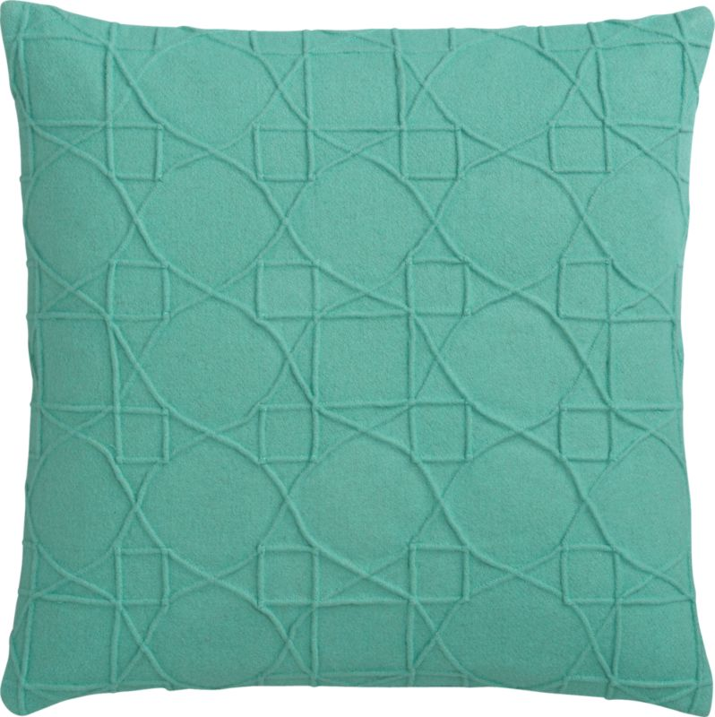 "wooly aqua felt 18"" pillow with down-alternative insert"