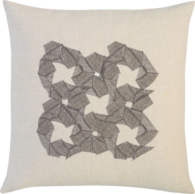 "zen embroidered flower 16"" pillow"