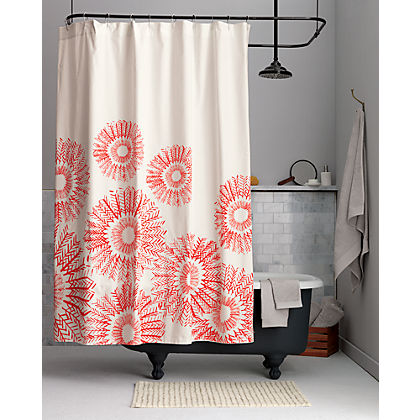 Arranging The Popular Motif In Coral Colored Medallions Eye Catching Its Simplicity This Shower Curtain Is