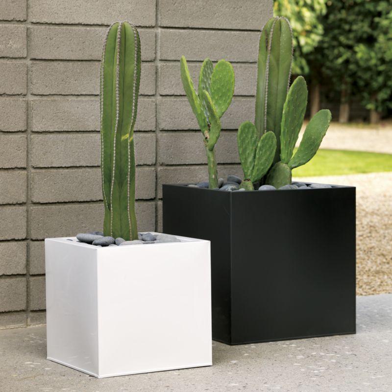 blox galvanized matte black planters