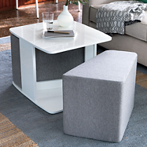 SAIC deep dish table and set of 2 cushions
