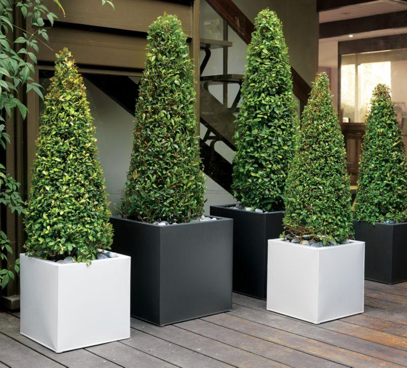 blox galvanized high gloss white planters