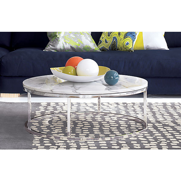 Smart round marble top coffee table cb2 Coffee tables with marble tops