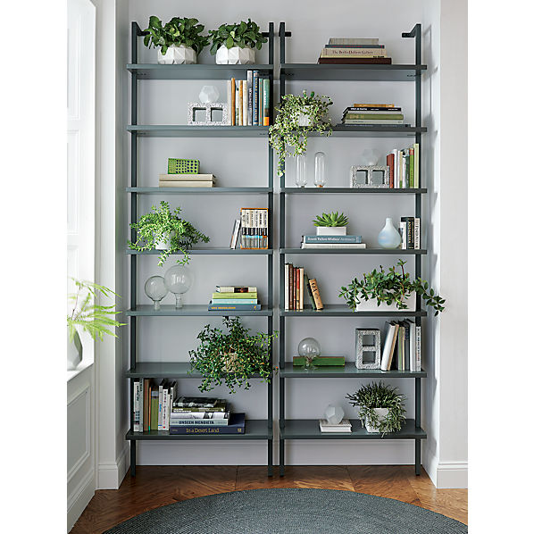 stairway grey wall mounted bookcase  CB2