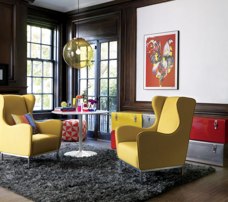 study wheatgrass wingback chair